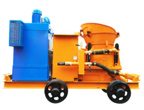 Dedusting concrete shotcrete machine