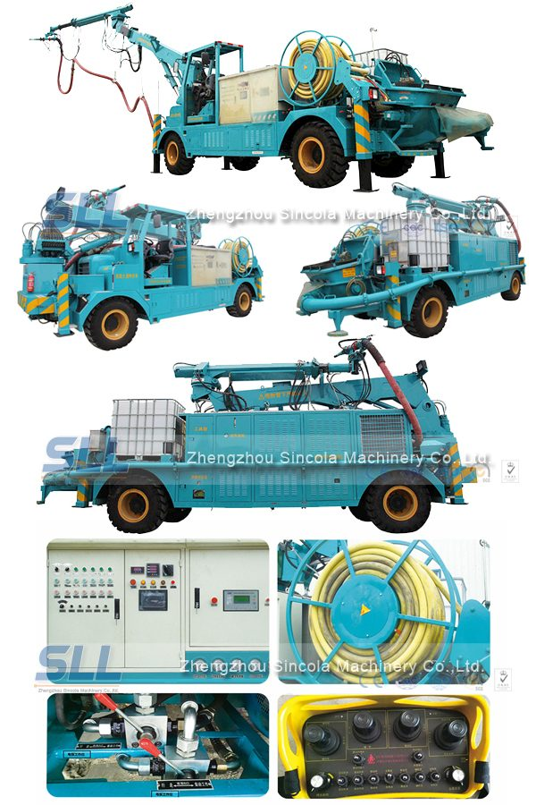 Concrete spraying machine for construction