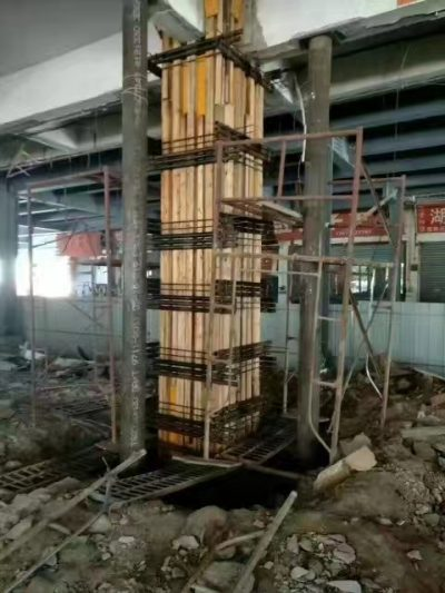 Column enlarged section reinforcement